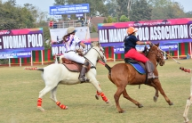 American and Manipuri players particpate in the woman's polo tournament in Manipuri in January 2016. They're riding the native Manipuri ponies.