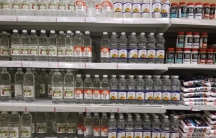 """At a supermarket in Caracas, the shelves are stocked with vinegar, salt and sardines, and not much else. """"There's nothing to eat,"""" says one shopper. """"I mean, you're not going to drink vinegar."""""""