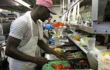 """Many of the employees at the Home Port restaurant on Martha's Vineyard are from Jamaica. But this year, the owner couldn't get the visas she needed. So she's short on staff. """"We're closing two days a week for dinner. I've never had to do that before."""""""