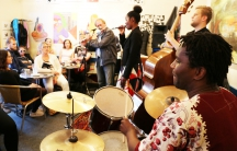 Musicians from Scandinavia and southern Africa play a jam session at a Danish café during the Copenhagen Jazz Festival this month.