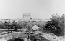 The US Capitol building is shown under construction in 1860. President Abraham Lincoln directed that work continue through the Civil War.