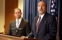 Andrew Luger, US Attorney for Minnesota, speaks during a news conference in Minneapolis on April 20, 2015. FBI Special Agent in Charge Richard Thornton stands at left.