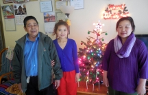 Cho Mei and her parents, refugees from Burma, bought their first Christmas tree this year. Mei says she's even participating in a 'Secret Santa' gift exchange with her family-- something she learned from her Burmese church group in Oakland.