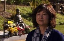 """Korean American activist Phyllis Kim at the Glendale, California, memorial for """"comfort women."""""""