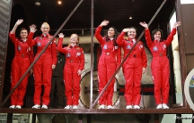 Six Russian women who underwent eight days of simulated space flight in a mock space capsule.