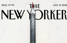 """A portion of """"Solidarité,"""" the New Yorker cover image by Ana Juan in tribute to the Charlie Hebdo victims."""