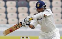 Sachin Tendulkar hits a shot during a match against New Zealand in Hyderabad, August 23, 2012.