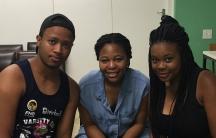 """University of Cape Town student activists Nico Nomyayi (l), Morategi Kale (c) and Zanele Kabane (r). """"Black students are tired all over the world,"""" Nomyayi says."""