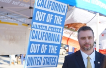 Louis Marinelli is head of the Yes California independence campaign, but he doesn't live in California. His home is in Russia.
