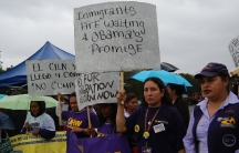 Unauthorized immigrants  at a rally in Fresno, Calif., back in 2009 -- still waiting for Congress and President Obama to take action on an overhaul to immigration law.