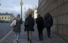 women walking down the street in Helsinki