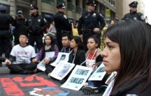 """Gabriela García, who crossed the US-Mexico border illegally with her family when she was three, recently protested for immigrant rights in downtown San Francisco. She was arrested and released for her civil disobedience the same day. """"I'm undocumented. I'"""