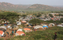 Overlooking the camps for Somalis displaced by ethnic violence in the lee of the Kolenchi hills in the Somali region.