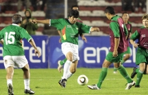 President Evo Morales of Bolivia playing in a friendly match in La Paz in 2011