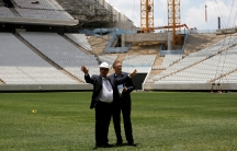 FIFA official and engineer inspect stadium in Sao Paulo, Brazil