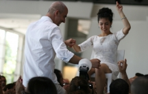 Mati Milstein and Lihi Yona celebrate their wedding July 11. They planned the wedding months in advance, but had to scramble to adjust the party to the realities of war.