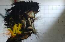 """Señor X's most well known - and least viewed - street art. """"Life"""" stenciled on the wall of an abandoned warehouse on the outskirts of Gijon.  Most of his other work is highly visible."""