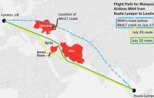 Malaysia airlines' flight paths