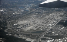 Fort Lauderdale-Hollywood International Airport seen from the air as a plane is about to land.