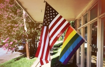 US and LGBT pride flag