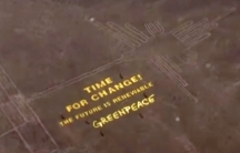 Greenpeace message next to Peru's Nazca Lines.