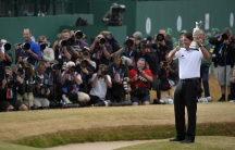 Phil Mickelson at the British Open golf championship at Muirfield in 2013, the last time the tournament was held on the course.
