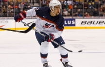Jordan Greenway will become the first black ice hockey player to skate for Team USA at the Olympics, pictured here at the IIHF World Junior Championship on Dec. 28, 2016.