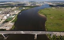 Houston water channel refineries