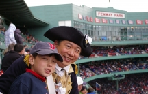 Henry Liu and his son at Fenway Park in April 2010.
