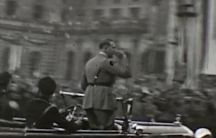 A still frame from a film shot by American doctor Ralph H. Major showing a German Nazi event in 1933 or 1934.