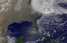 Hurricane Sandy is seen moving towards the east coast of the United States on October 29, 2012.