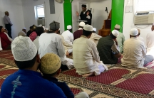 Imam Mohammad Islam leads Friday prayers at Al Ma'ad Al Islami mosque outside of Atlanta, Georgia on November 18, 2016.