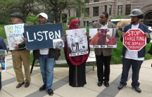 Supporters of three young Somali Americans on trial for plotting to join ISIS in Syria.