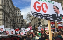 Thousands of people protest outside 10 Downing Street in London calling for the resignation of Prime Minister David Cameron.