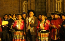 A group of indigenous mayors, historians and activists gather for a candlelight vigil in Cuzco's main square to commemorate the 235th anniversary of freedom fighter Tupac Amaru{s death, who was dismembered by Spanish colonists on the square.