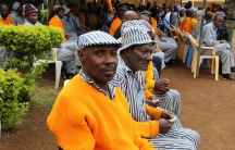 Inmates at Kamiti Maximum Prison in Kenya wait to vote.