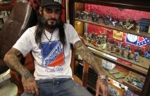 Turkish tattoo artist Danny Garcia in his Istanbul tattoo parlor.