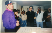 The World's first executive producer Neil Curry, left, at a planning meeting before the show's launch.  With him are Traci Tong, Ofeibea Quist-Arcton, Marco Werman, Philip Martin and Boris Maksimov.