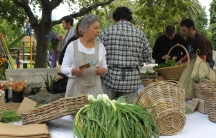 Sheryl Ozinsky, one of the founders of the Oranjezicht City Farm in Cape Town, selling produce at the Saturday market.