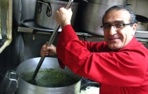 Saeed Pourkay makes a soup called Asheh Reshteh at Taste of Persia NYC in Manhattan.