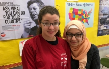 Naiara Zerlotini (left) and Sophia Chalabi were disappointed when Hijab Day at Medford High School was called off.