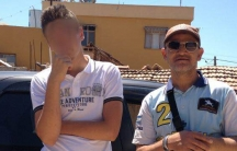 Abderrazak and Alexandre Cherif in Hatay, Turkey. Alexandre's face is blurred because he's minor who is currently in French prison.