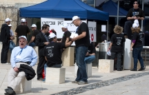 Israeli foreign ministry employees on strike in Jerusalem.