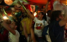 Italian fans celebrate the victory of Italy against France in the World Cup 2006 final soccer match, 2006.