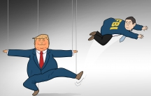 Trump shown as a marionette doing a Russian folk dance. The person pulling the strings has him kick James Comey.