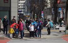 Japanese schoolchildren in Tokyo