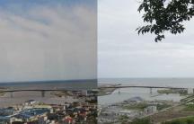 The coastal Japanese city of Ishinomaki, before the Tsunami... and today.