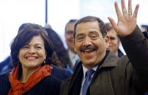"Chicago mayoral candidate Jesus ""Chuy"" Garcia and his wife, Evelyn, arrive at a restaurant for lunch on February 24, 2015, the day of the Chicago Democratic primary."