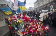 Makeshift memorial in Kiev