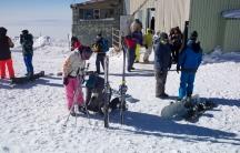 Skiiers at Tochal in Tehran.